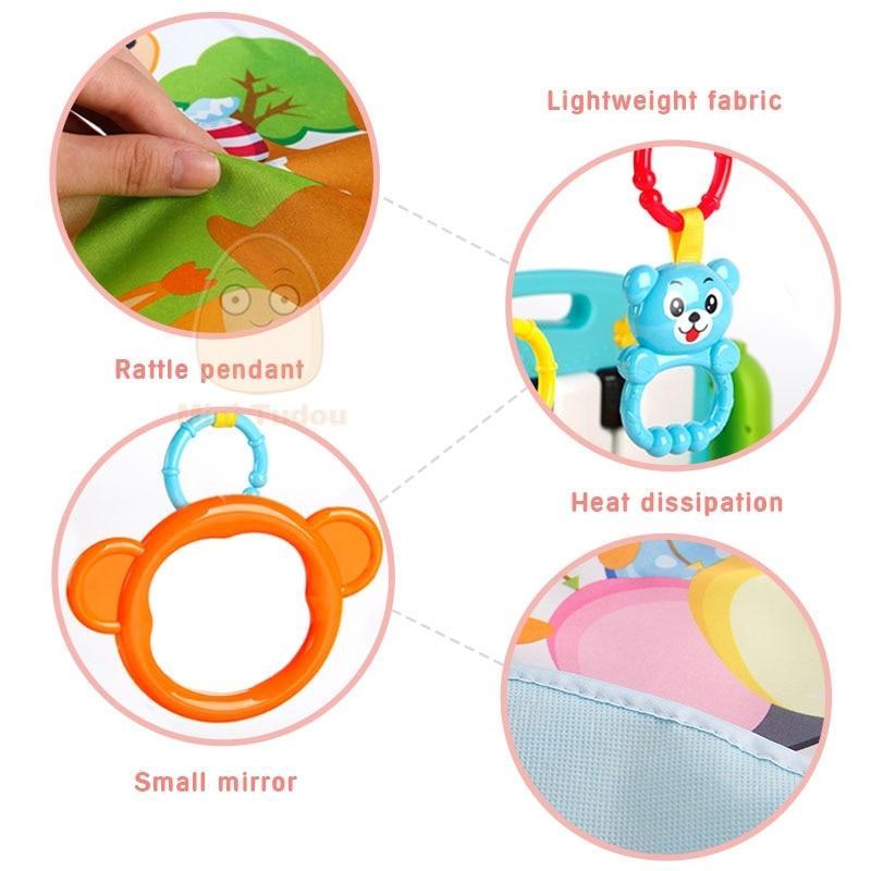 שטיח פעילות עוזר להתחלת זחילה עם צעצועים ומוזיקה צבע ירוק - Mom & Me