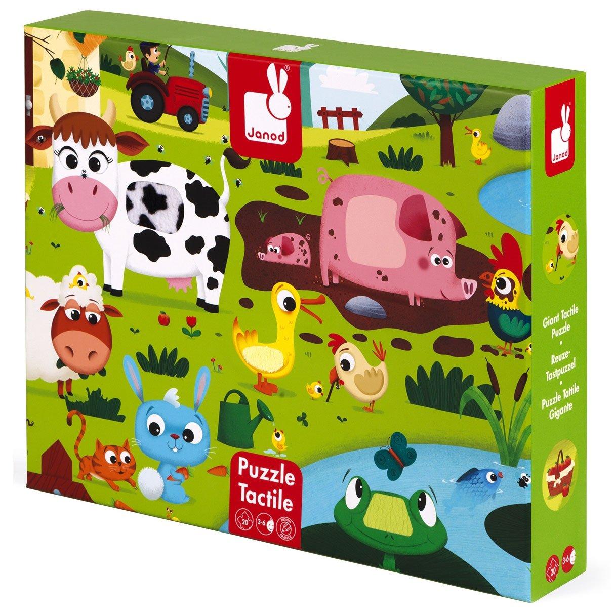פאזלים פאזל מישוש - חיות החווה - 20 חלקים - Mom & Me