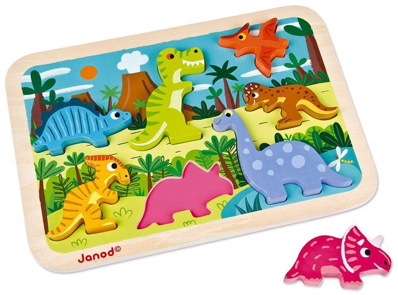 התאמת צורות פאזל התאמות מעץ דינוזאורים 7 חלקים - Mom & Me