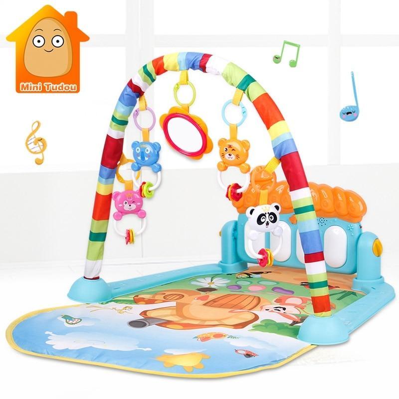שטיח פעילות עוזר בפיתות זחילה עם צעצועים ומוזיקה צבע כחול - Mom & Me